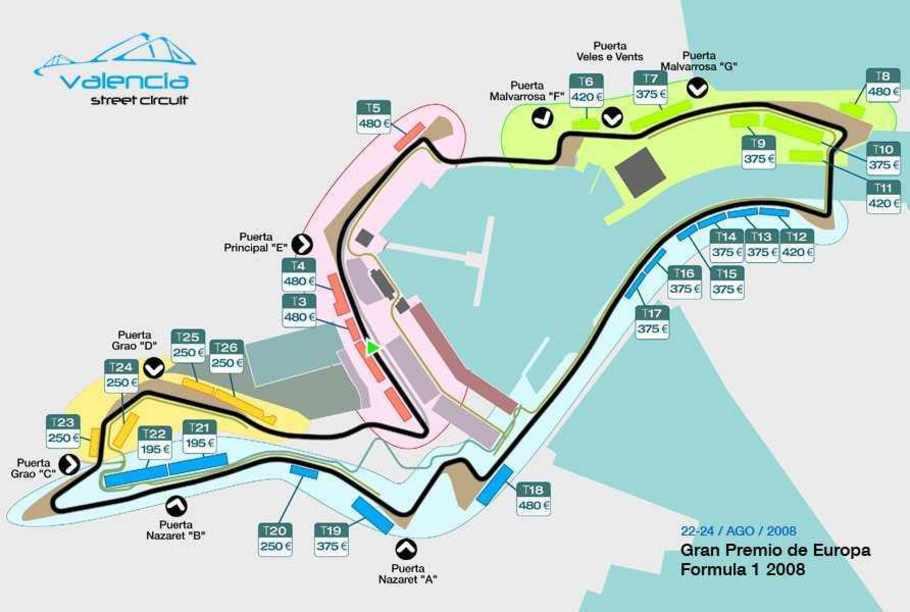 Plano de seguimiento de el Circuito de Formula 1 de Valencia