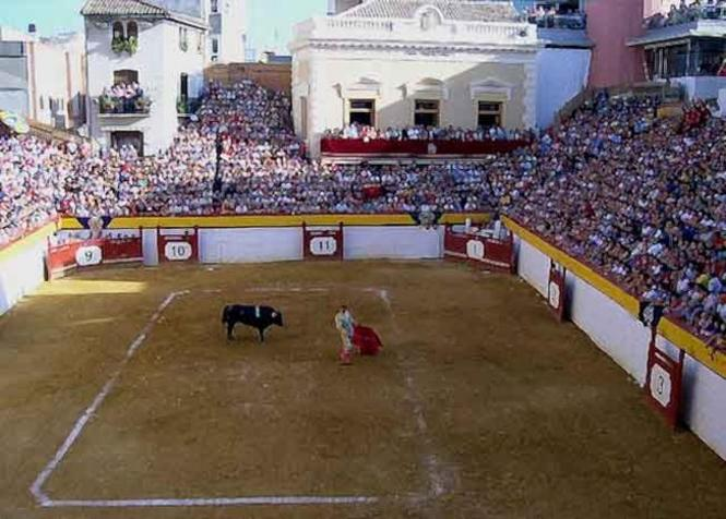 Vista de la peculiar (es cuadrada) plaza de toros de Algemesí