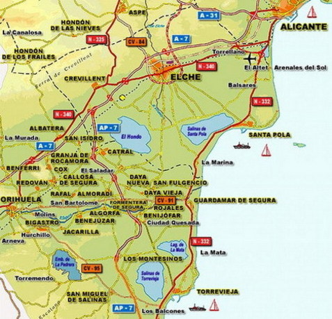 Mapa d'accessos a Alacant