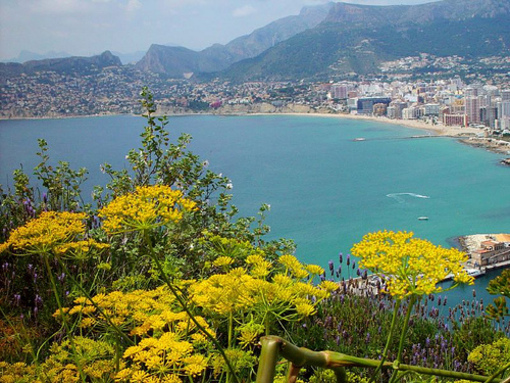 Vistas de las playas y el mar de Calpe