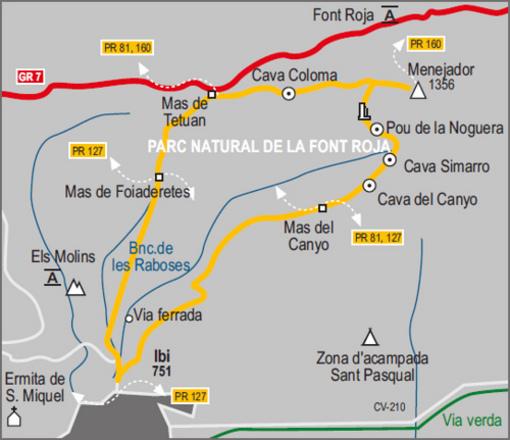 Mapa de los senderos de la Font Roja