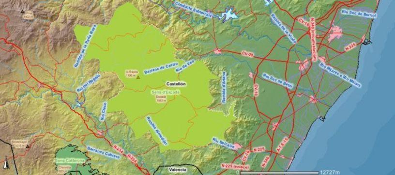 Mapa del Parque Natural de la Sierra de Espadán