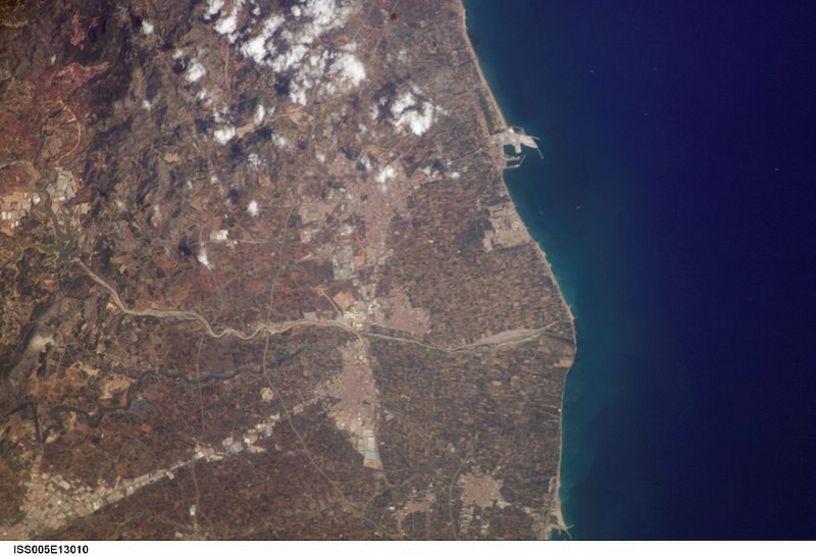 Vista satelital de la región de la Plana Alta