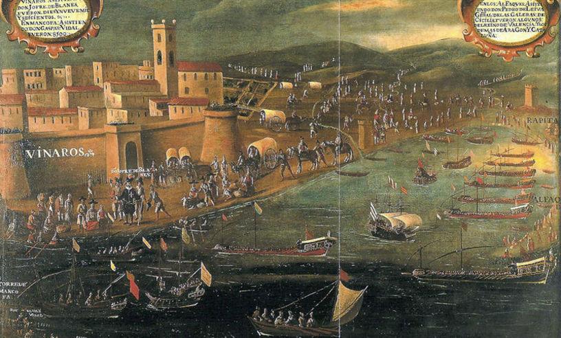 Representaciçon pictorica de L'expulsió a Vinaròs. Obra de Pere Oromig i Francisco Peralta.