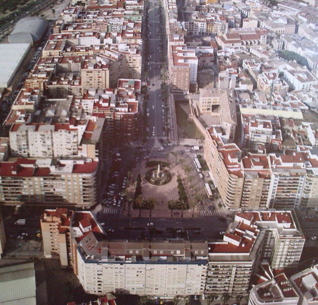Vista aérea del centro de Alzira
