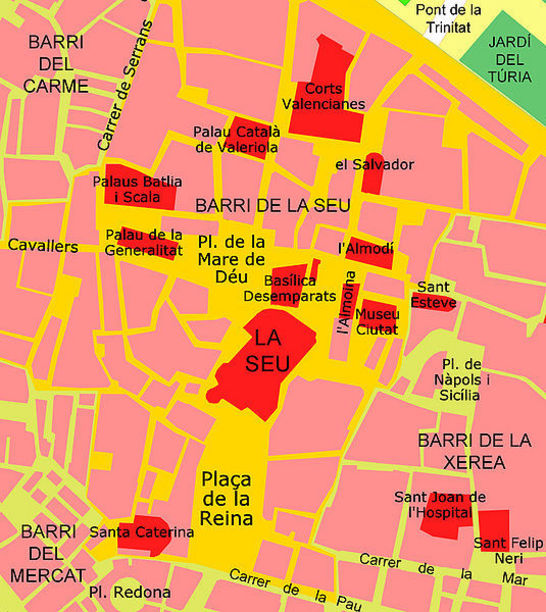 Mapa de situació de la catedral, València