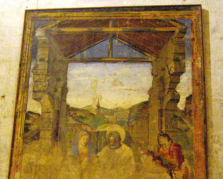 Detalle de uno de lso frescos de la Capilla del Santo Caliz, Valencia